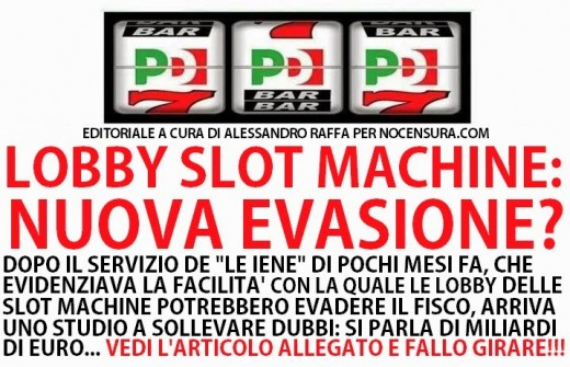 Slot machine evasione 98 miliardi